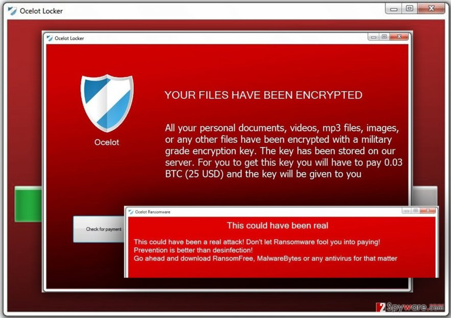 The ransom message by Ocelot Locker ransomware virus