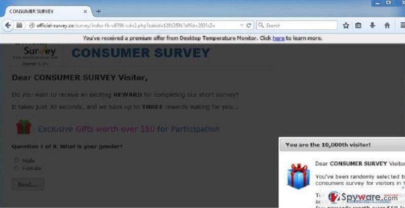 Official-survey.co pop-up virus snapshot
