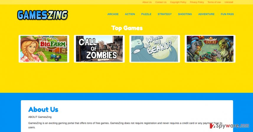 Official website of GamesZing ads