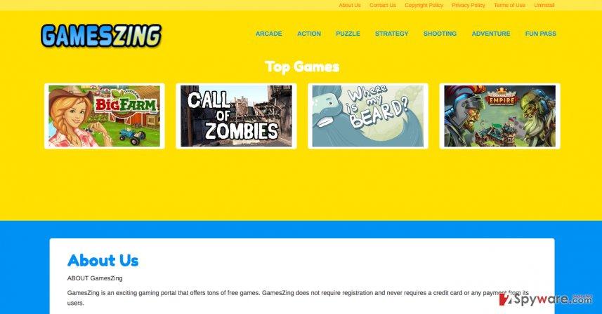 Official website of GamesZing ads