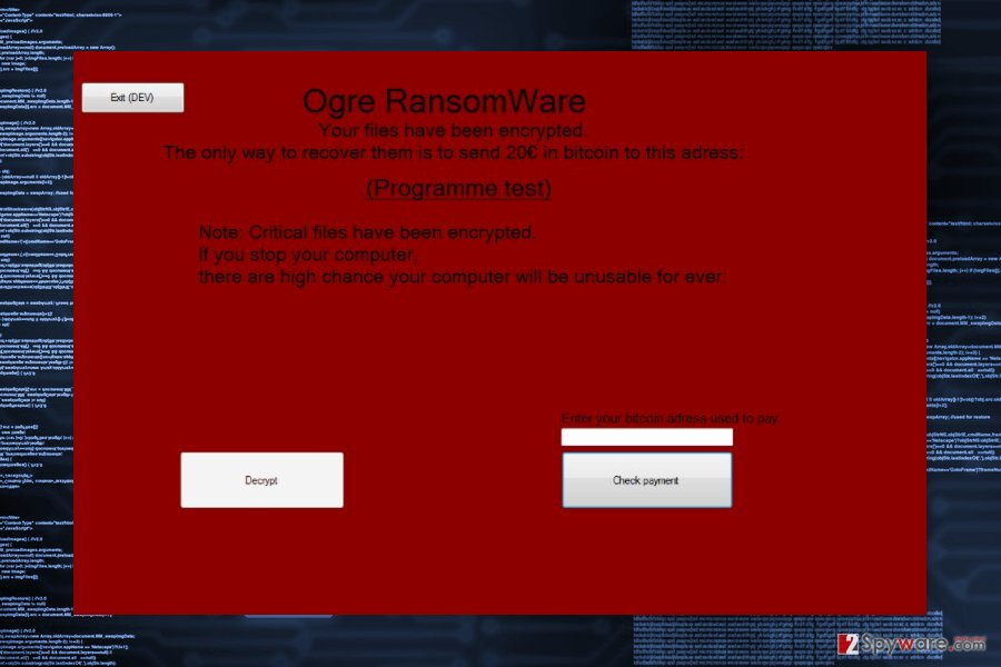 Ransom note by Ogre ransomware virus
