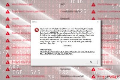 The screenshot of OhNo! message