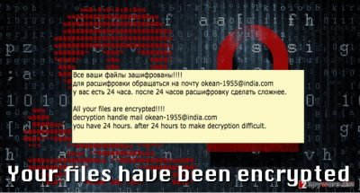Okean-1955 ransomware displays a frightening message