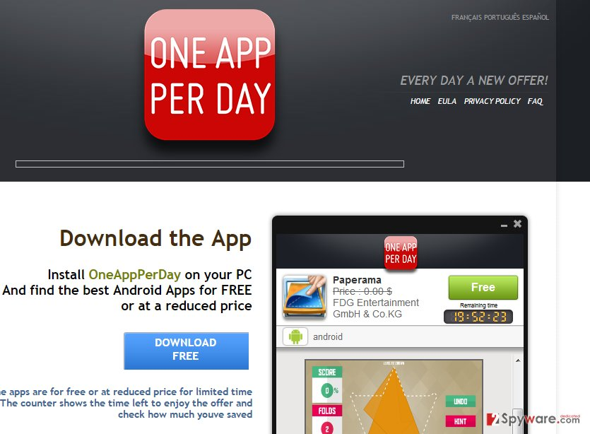 OneAppPerDay ads snapshot