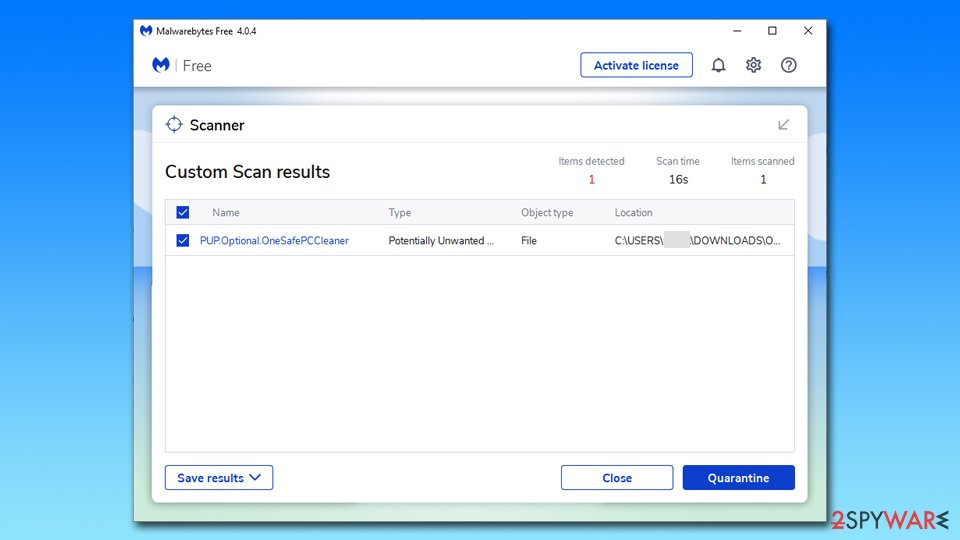 OneSafe PC Cleaner detection
