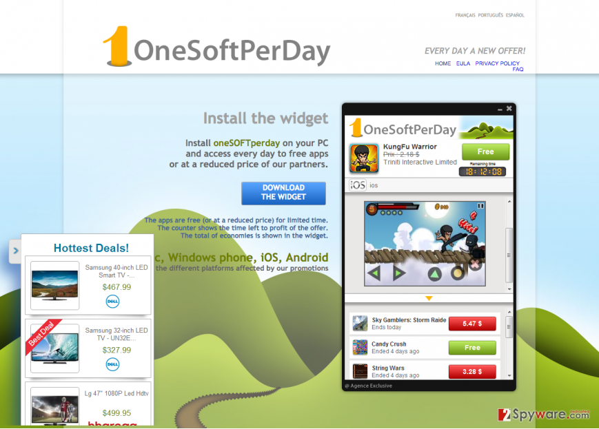 The main page of OneSoftPerDay adware and example of its ads