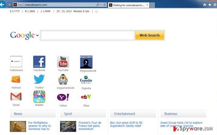 OneWebSearch virus snapshot