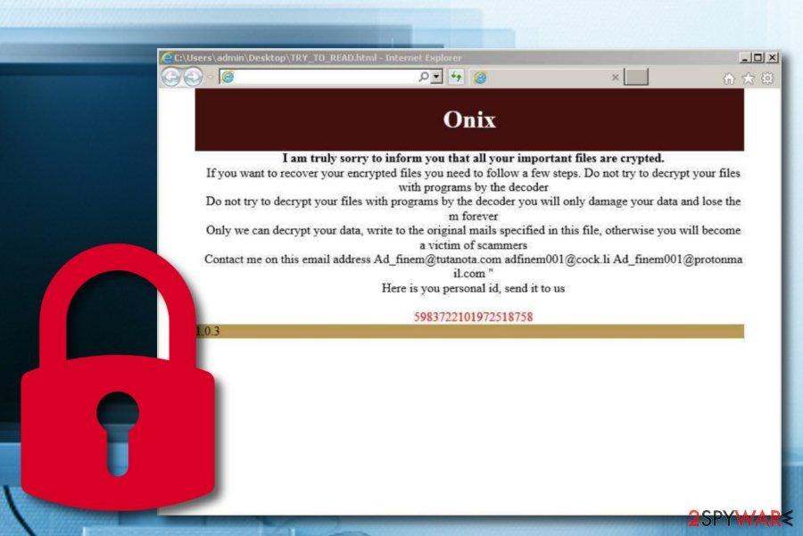 ONIX ransomware virus