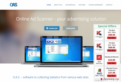 The picture of Online Ad Scanner page and pop-up ads