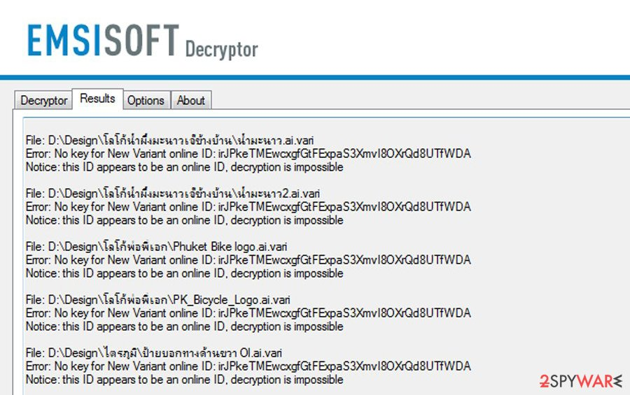 Online ID - decryption ompossible