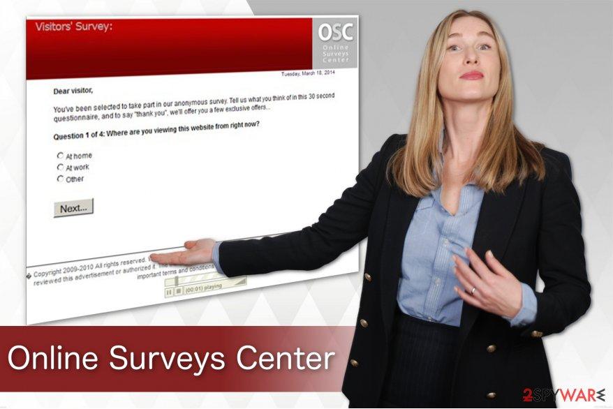 Online Surveys Center virus pop-up illustration