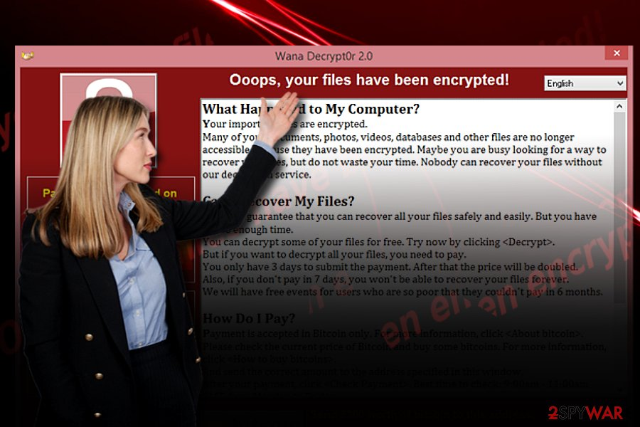 """Oops your files have been encrypted"" notice"