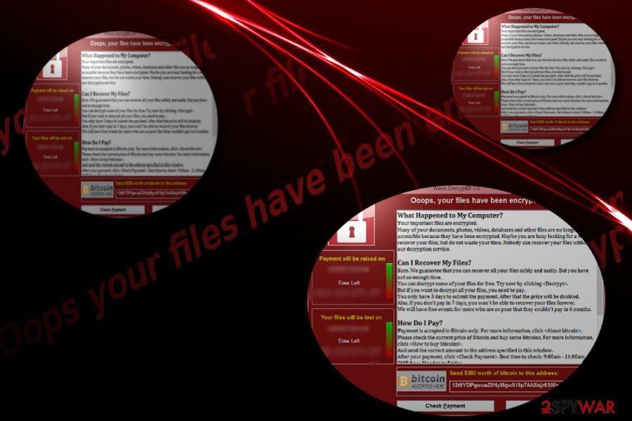 """The image of """"Oops your files have been encrypted"""" messages"""