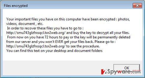 OphionLocker virus snapshot