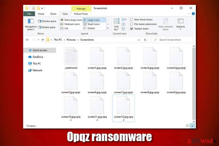 Opqz ransomware encrypted files