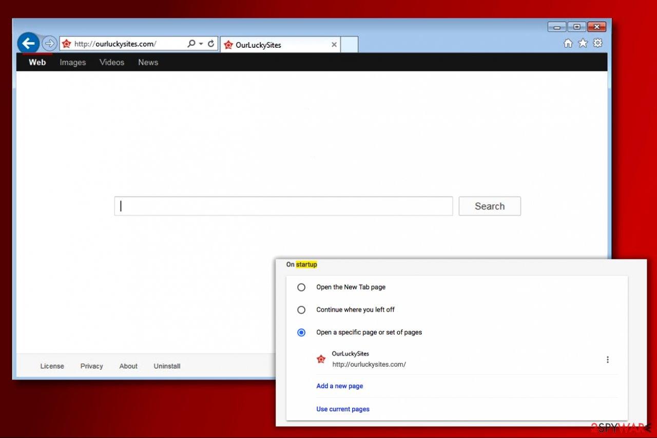 OurLuckySites.com virus in Chrome browser