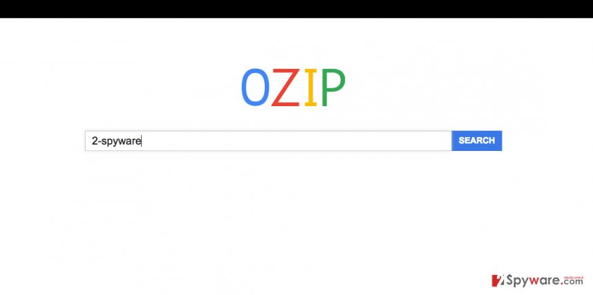 A screenshot of the Ozip browser hijacker's website
