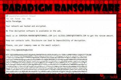 Parad1gm ransomware virus