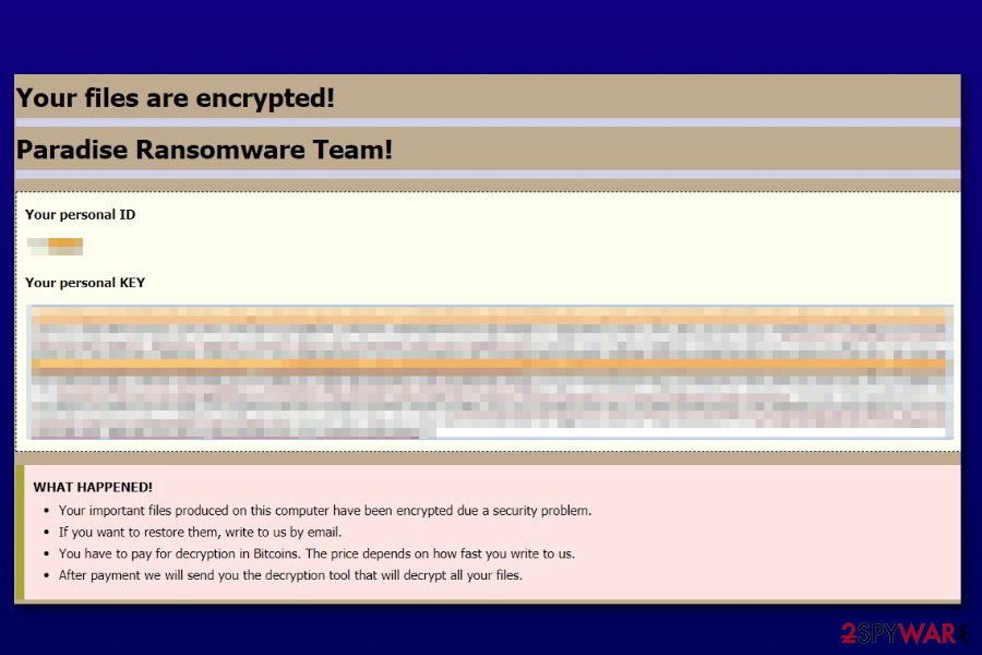 Paradise ransomware new payment site