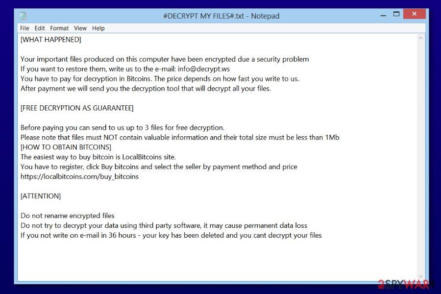 Paradise virus ransom note