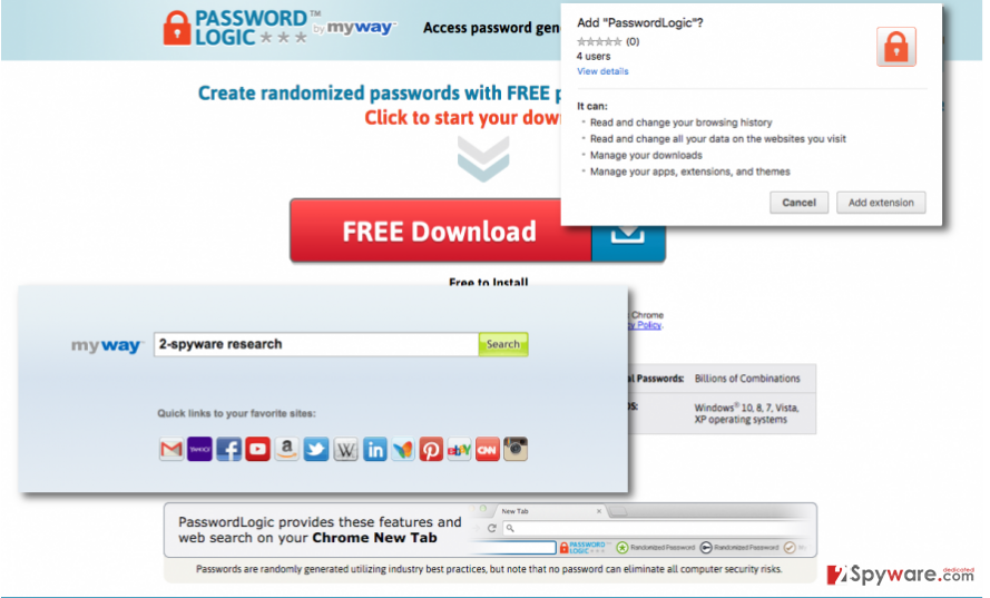 Showing PasswordLogic Toolbar's official website, search engine, and installer