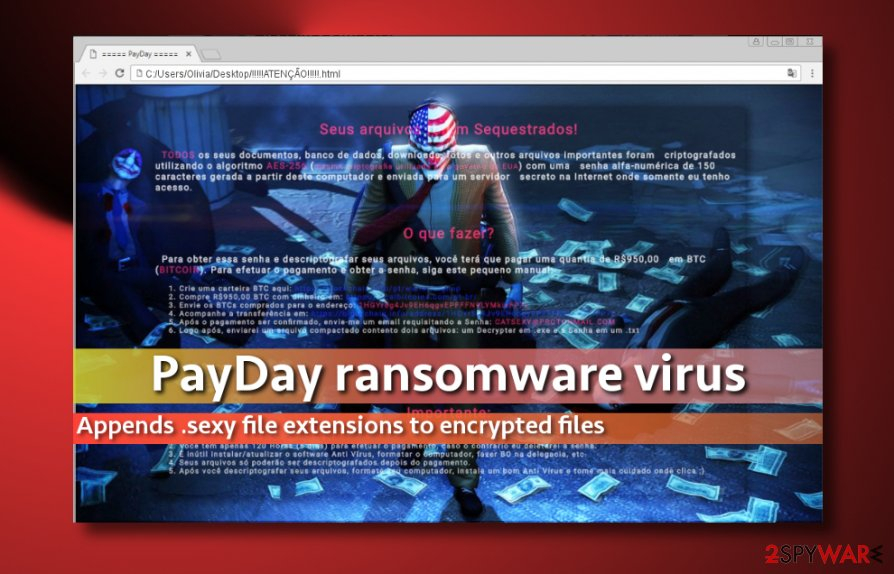 Screenshot of PayDay virus ransom note