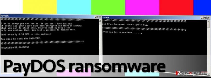 Screens that PayDOS virus displays