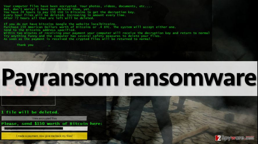 Ransom note left by Payransom virus