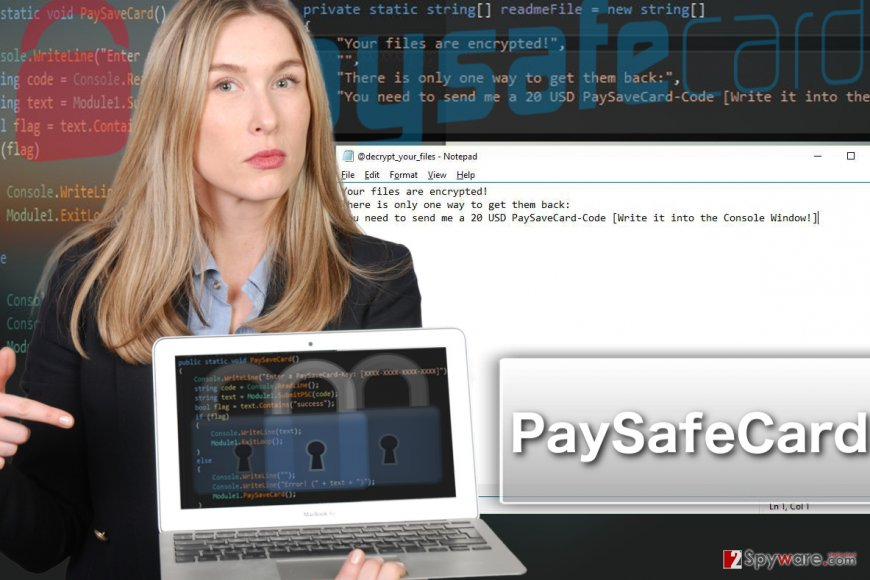 PaySafeCard ransomware virus illustration