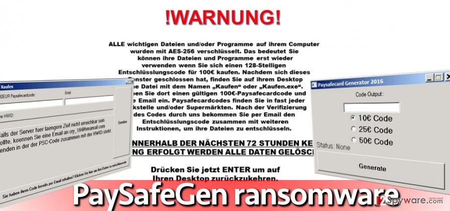 Screenshot of PaySafeGen ransomware