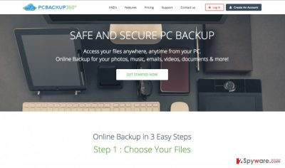 A screenshot of the official PC Backup 360 download website