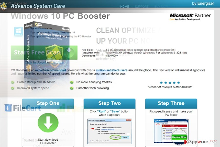 The image displaying Pcbooster.biz virus
