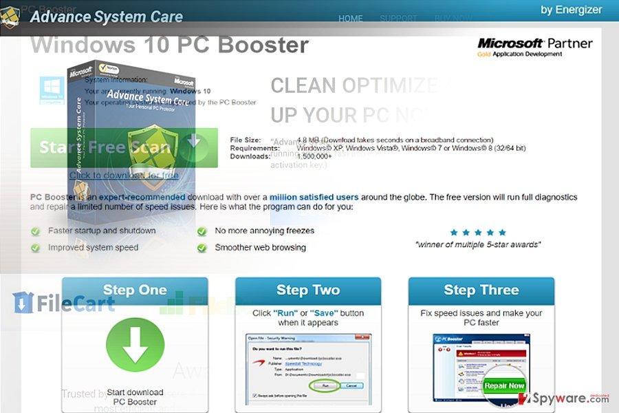The image displaying Pcbooster.biz virus
