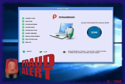 The image displaying PCGuardian Registry Cleaner