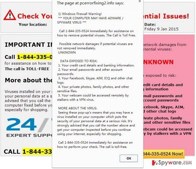 Pcerrorfixing2.info virus snapshot