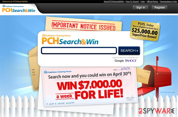 PCH Search snapshot