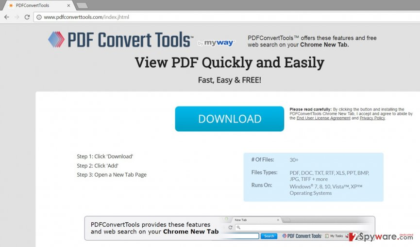 The official website of PDFConvertTools Toolbar