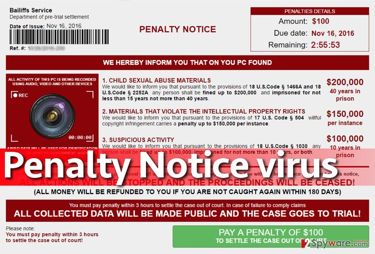 Penalty Notice virus accuses victim of cyber crimes