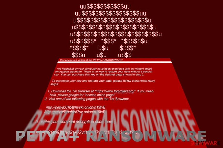 The image displaying Petya+ ransom note