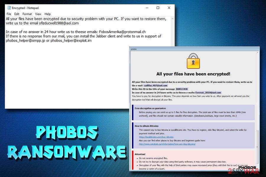 Phobos ransomware - new variants