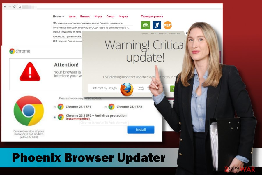 Showing Phoenix Browser Updater malware