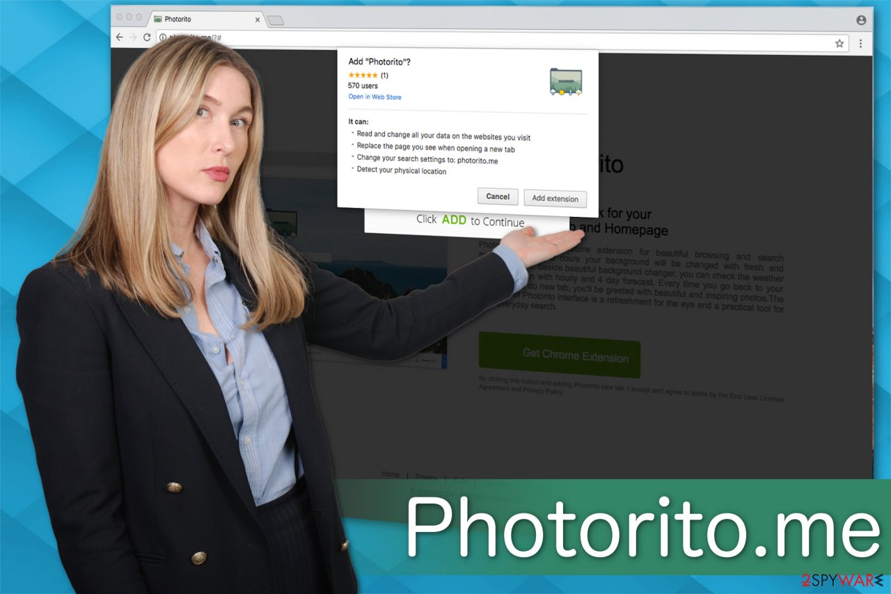 Photorito.me browser hijacker illustration