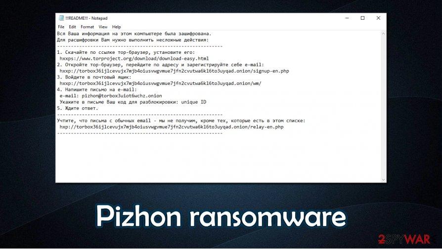 Pizhon ransomware