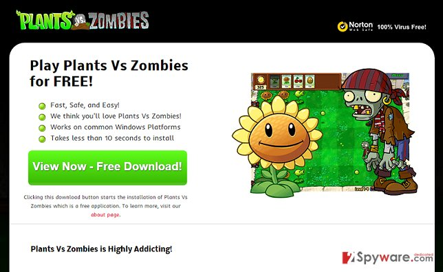 Plants Vs Zombies adware