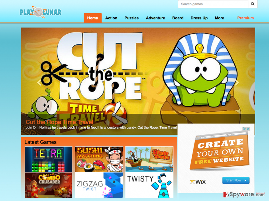 The main page of Play Lunar adware
