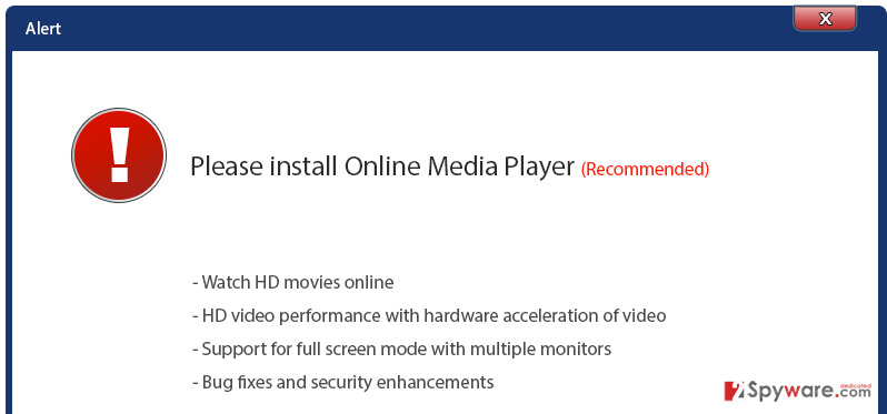 'Please install Online Media Player' virus snapshot