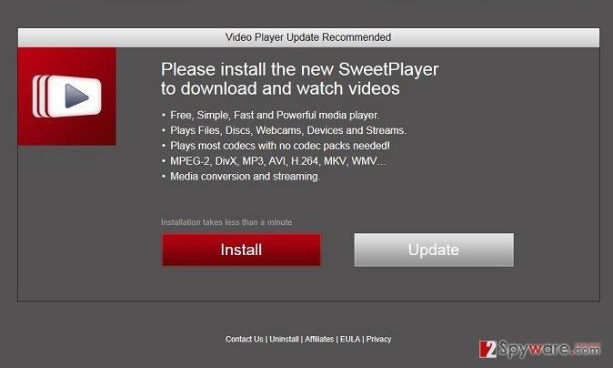 """""""Please install the new SweetPlayer"""" virus snapshot"""