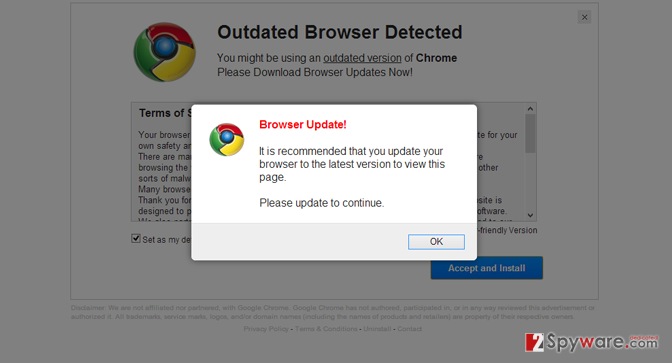 """Please Update Browser"" popup virus snapshot"