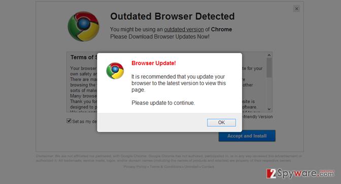 """""""Please Update Browser"""" popup virus snapshot"""