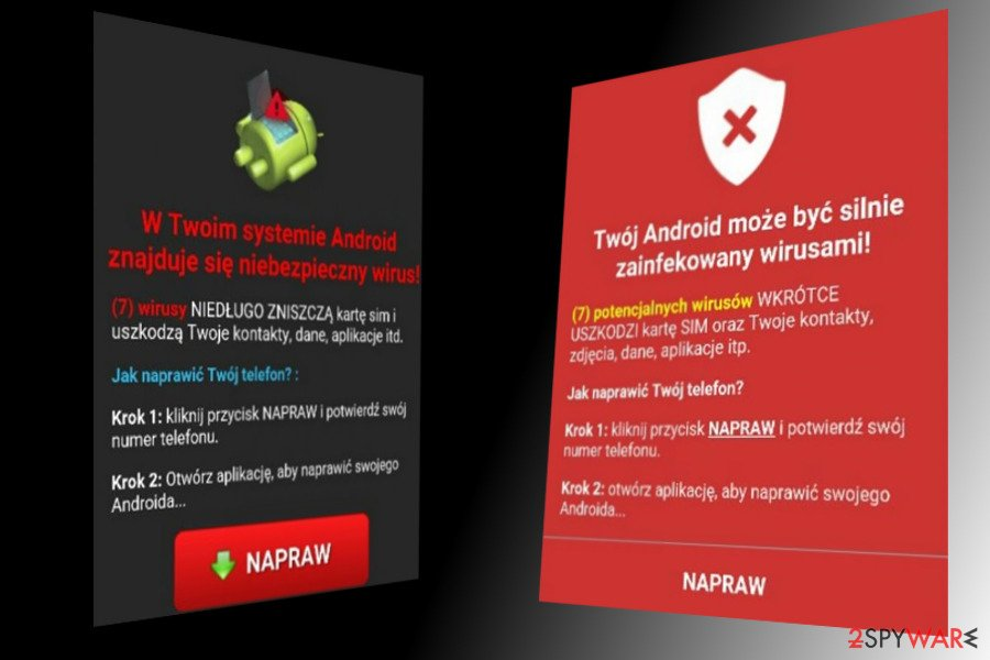 Android virus translated into Poland language